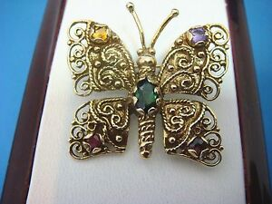! UNIQUE ANTIQUE BUTTERFLY BROOCH WITH GEMSTONES, 7.1 GRAMS, 14K YELLOW GOLD.