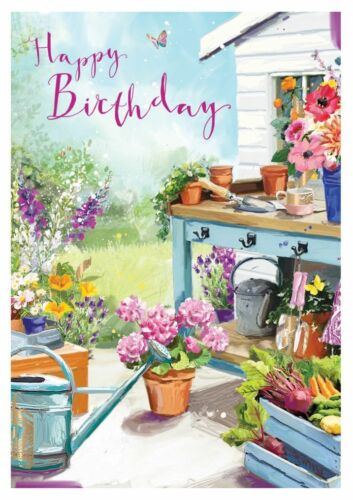 Day in the Garden Birthday Card At Home Ling Design Female Quality NEW