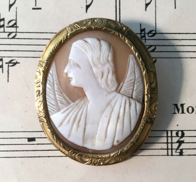 Antique French Carved Shell Cameo Angel Archangel Michael Raphael Gabriel c1860
