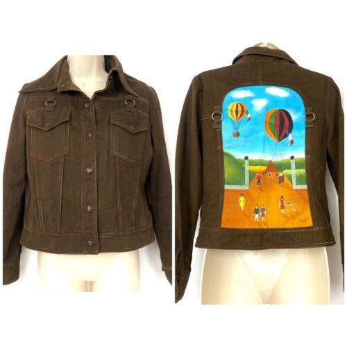 Vintage Roncelli Painted Denim Jacket 11/12 Brown… - image 1