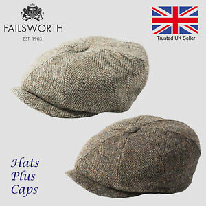 8b86f2f6a5d4e1 Image is loading Failsworth-Carloway-Green-Olive-Sage-Harris-Tweed-Newsboy-