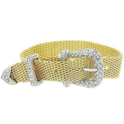 """Celebrity Style Jewelry"" 2.81 Ct Crystal 14k Yellow Gold Mesh Buckle Bracelet"