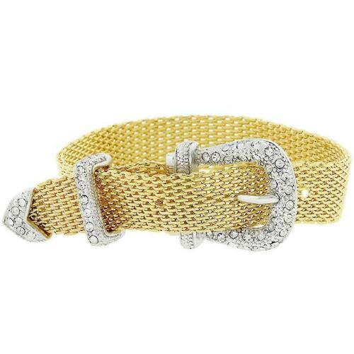 Celebrity Style Jewelry 2.81 Ct Crystal 14k Yellow Gold Mesh Buckle Bracelet