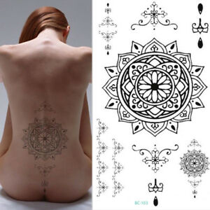 Henna Black Lace Temporary Chest Tattoo Adult Sexy Body Art Belly