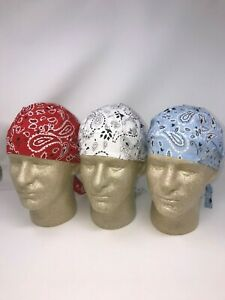 Lot-of-3-Sky-Blue-White-Red-Paisley-Doo-Rag-Headwrap-Biker-Durag-Bandanna-Chemo
