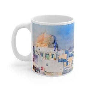 Santorini Coffee Mug Greece Coffee Cup Dinnerware Home Decor Ebay