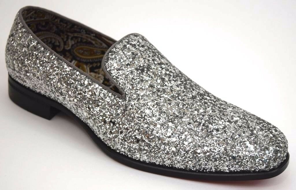 Men's Dress Casual Fancy shoes Silver Sparkly Slip On Loafers AFTER MIDNIGHT