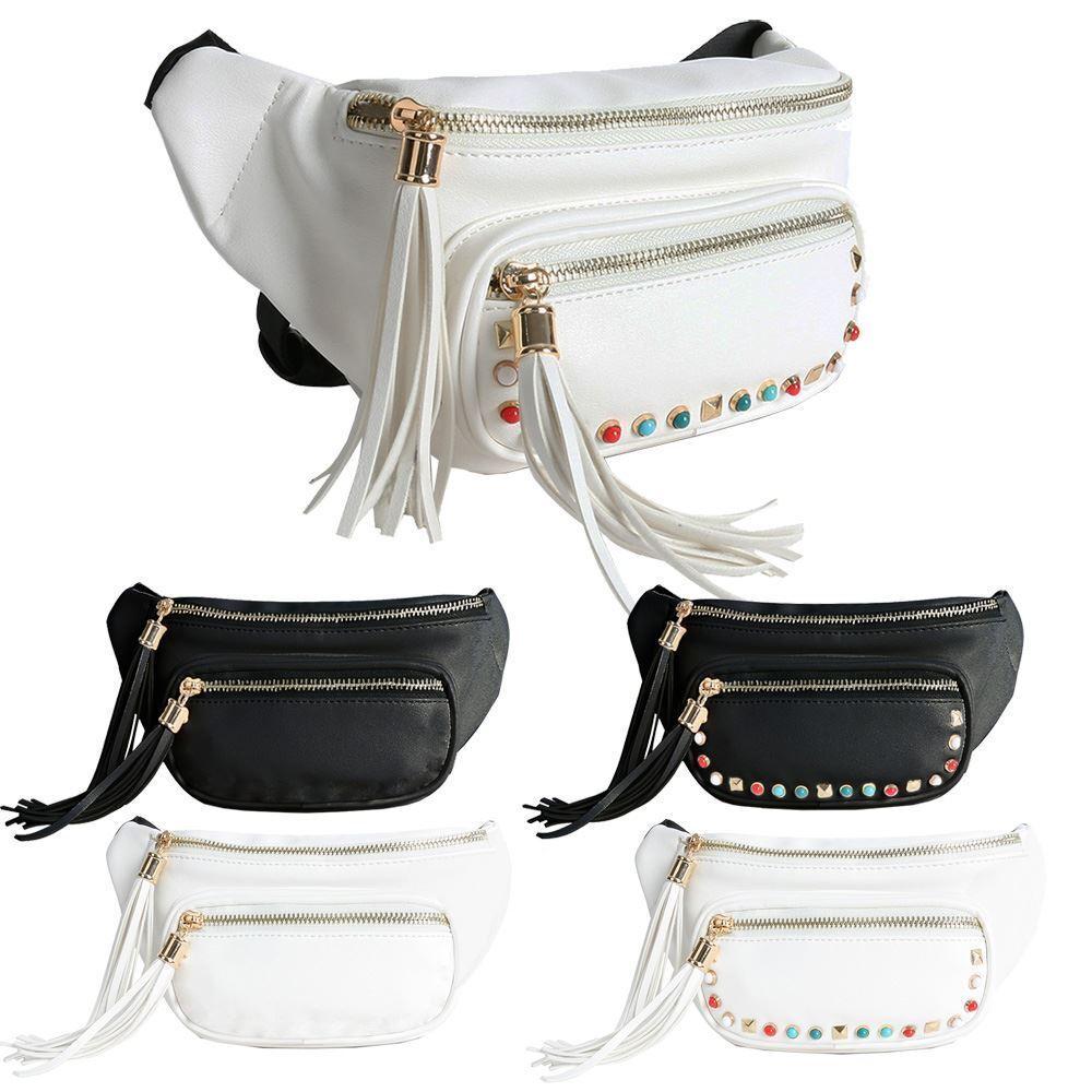 Nouveau cloutées en cuir synthétique Tassel Décoration Mode Mode Mode Femme Bum Hip Sac 319aa3