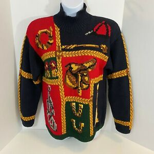 Talbots-Equestrian-Themed-Sweater-Womens-Large-LS-Blue-Red-Green-Mock-Neck-Knit