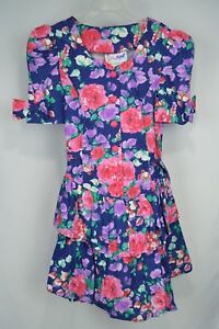 7d277f4caeed Girls The Little Trotter Vintage Floral Dress size 10 Cotton Blue ...