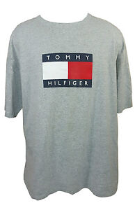 dd66cb056 Tommy Hilfiger T Shirt XL Box Logo Spell Out 90's Flag Color Gray ...