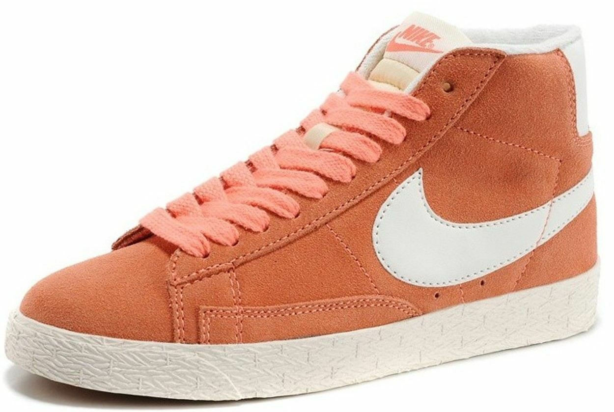 Nike Blazer Mid Vintage L. Orange White Womens Suede Trainers Comfortable and good-looking
