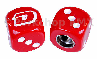 PAIR RED Dyno outline old school BMX bicycle tire Schrader valve DICE caps