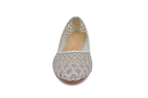 NEUF filles enfants ballerine pompe dolly Maille Strass Paillettes Plat Mariage UK