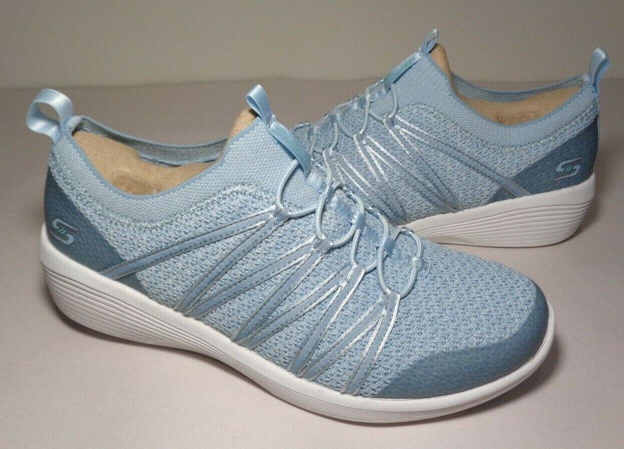 Skechers Size 6 ARYA Blue Slip On Wedge Memory Foam Sneakers New Women's Shoes