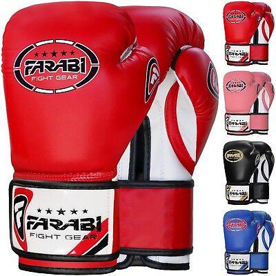 Pink, 8-oz Farabi Boxing Gloves Kids Junior Muay Thai Kick Boxing Training MMA Punching Bag