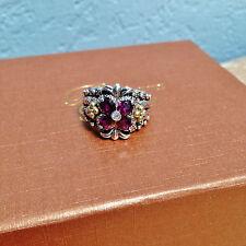 Barbara Bixby Sterling Silver 18k Gold Garnet Flower Ring Size 6