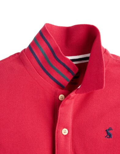 BNWT Joules Boys Red Woody Pique Polo Shirt T-Shirt Cotton Tee Classic Smart