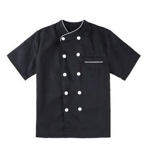 Men Short Sleeve Chef Coat Jacket Kitchen Cooker Outfit Restaurant Uniform IT