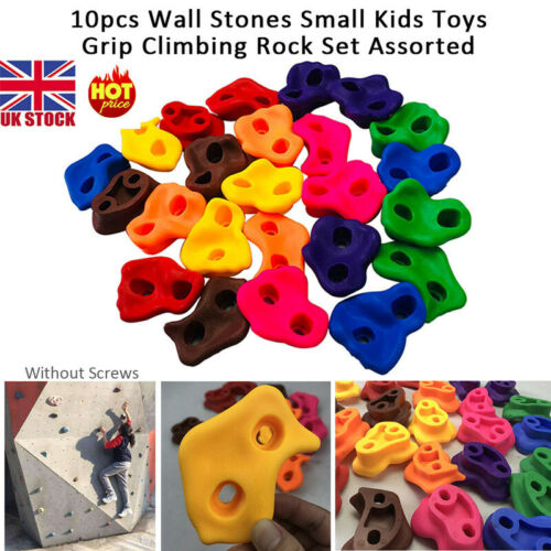 UK 10PCS Climbing Holds Grips Children Kids Rock Climbing Wall Stones Mix-colors