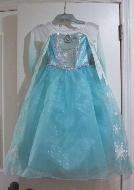 Disney Frozen Princess Elsa Costume Gown Dress Size 9 10 | eBay