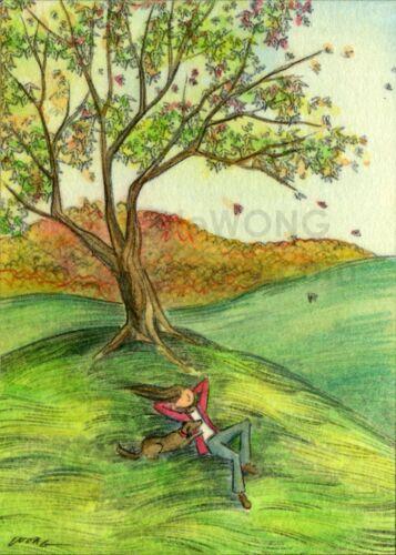 dog pets animals landscape mountain autumn artprint ACEO PRINT WATCHING FALL