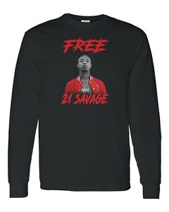 8f9e5716 Image is loading Free-21-Savage-Custom-Long-Sleeve-T-Shirt-