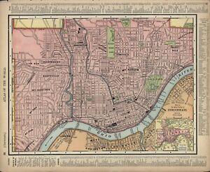 Vintage City Street Mapa Cincinnati Ohio Rand Mcnally Estado De