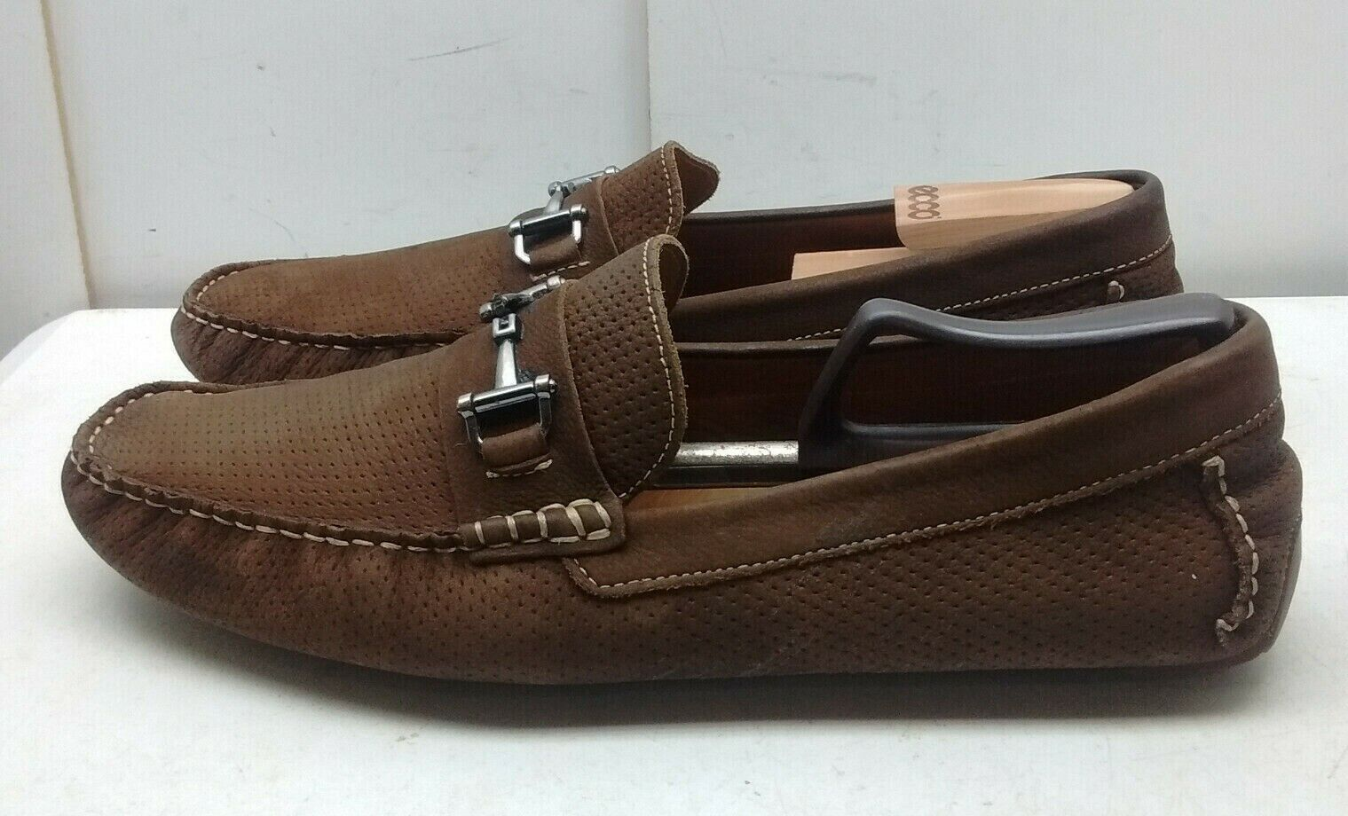 1901 Dark Brown Perforated Suede Slip On Horse Bit Loafer Driving Men's shoes 14M