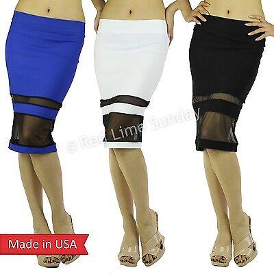 Trend Color Bengaline Black White Blue w/ Mesh Stripe Detail Pencil Skirt USA