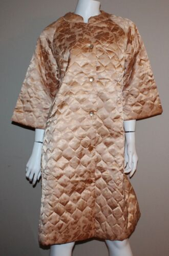 Vintage Quilted Golden Floral Satin House Coat Rob