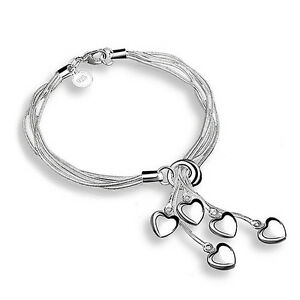 Image Is Loading Silver Plated Hearts Chain Tel Bracelet Gift Present