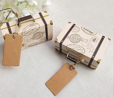 100pcs Vintage Suitcase Favor Box Wedding Candy Boxes Party Gift Favors