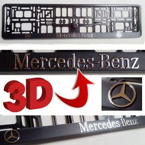 Image is loading Black-3D-Mercedes-Benz-European-Euro-License-Number- & Black 3D Mercedes Benz European Euro License Number Plate Holder ...