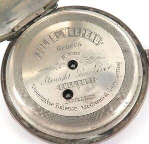 HIGH-GRADE-LATE-1800s-JULES-VELPEAU-GENEVA-18S-800-SILVER-POCKET-WATCH