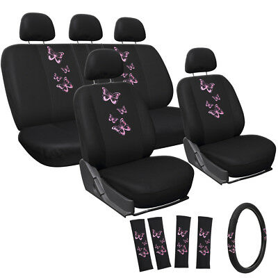 Car Seat Covers Pink Butterfly 17pc Set for Auto w/Steering Wheel/Head Rest