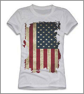 T-shirt Uomo Donna Bandiera Americana Verticale Usa Gen0388 Aiutare A Digerire Cibi Grassi