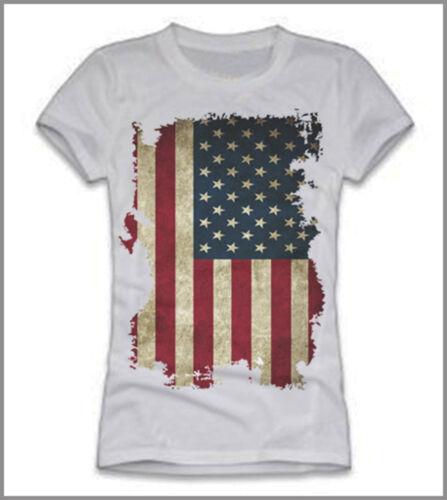 T-SHIRT UOMO DONNA BANDIERA AMERICANA VERTICALE USA GEN0388