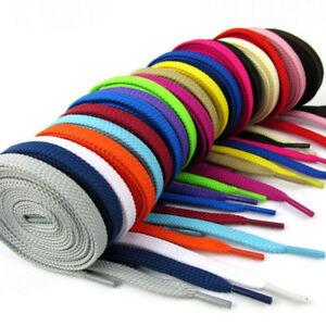 1-Paire-Lacet-PLATS-Cordons-De-Chaussure-Lacets-Shoelaces-20-Couleurs-130CM-8mm