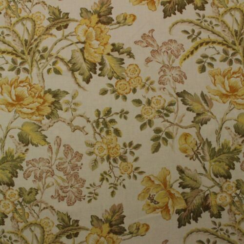 "RICHLOOM ROBIN MARMALADE YELLOW GOLD GREEN FLORAL LINEN FABRIC BY YARD 54/""W"