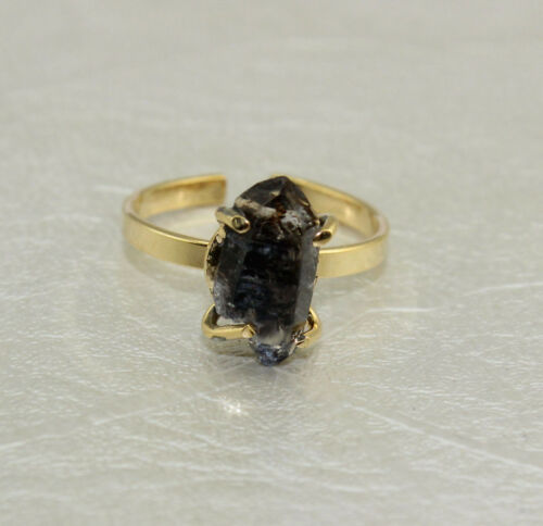 Rare Natural Raw Herkimer Diamond Citrine Gold Plated Adjustable Ring Jewelry