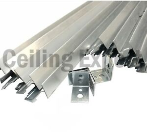 10m2 Brushed Chrome Suspended Ceiling Grid System 600 X