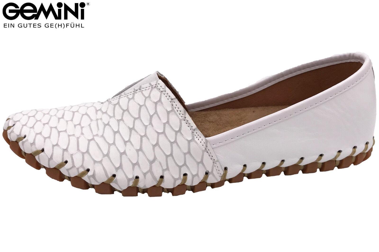 Slipper Leder Schuhe Sommer Weiß Ballerina Damen NEU Gemini