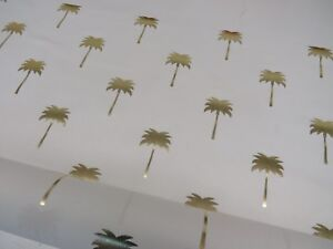 METALLIC GOLD Designer Tropical  Pineapple Collection Cotton Curtain Fabric