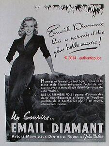 publicite email diamant dentifrice rouge john walton sourire de 1954 pub vintage ebay. Black Bedroom Furniture Sets. Home Design Ideas