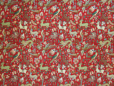 FAUNA TAPESTRY RED WOVEN TAPESTRY BIRDS WILDLIFE CURTAIN UPHOLSTERY FABRIC E53