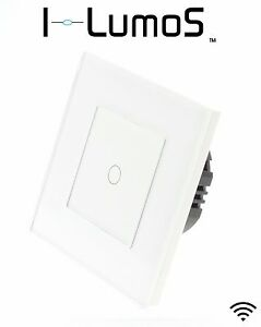 I LumoS Modern White Glass Frame Touch, Dimmer, Remote & WIFI LED Light Switches