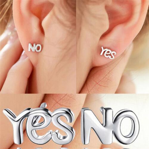 Lovely Silver YES NO Earrings Simple Chic Letters Mini Ear Stud Earrings/////_gu