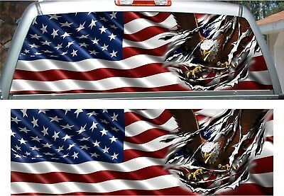 American flag gadsden don/'t tread on me rear window view thru graphic decal wrap