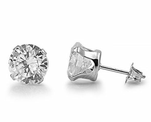 .925 Sterling Silver Brilliant Cut .80ct Simulated Diamond Stud Earrings S17